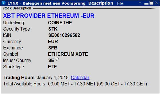 XBT Provider Ethereum ETN - beleggen in bitcoins bij LYNX - Top 5 bitcoin aandelen en ETF's