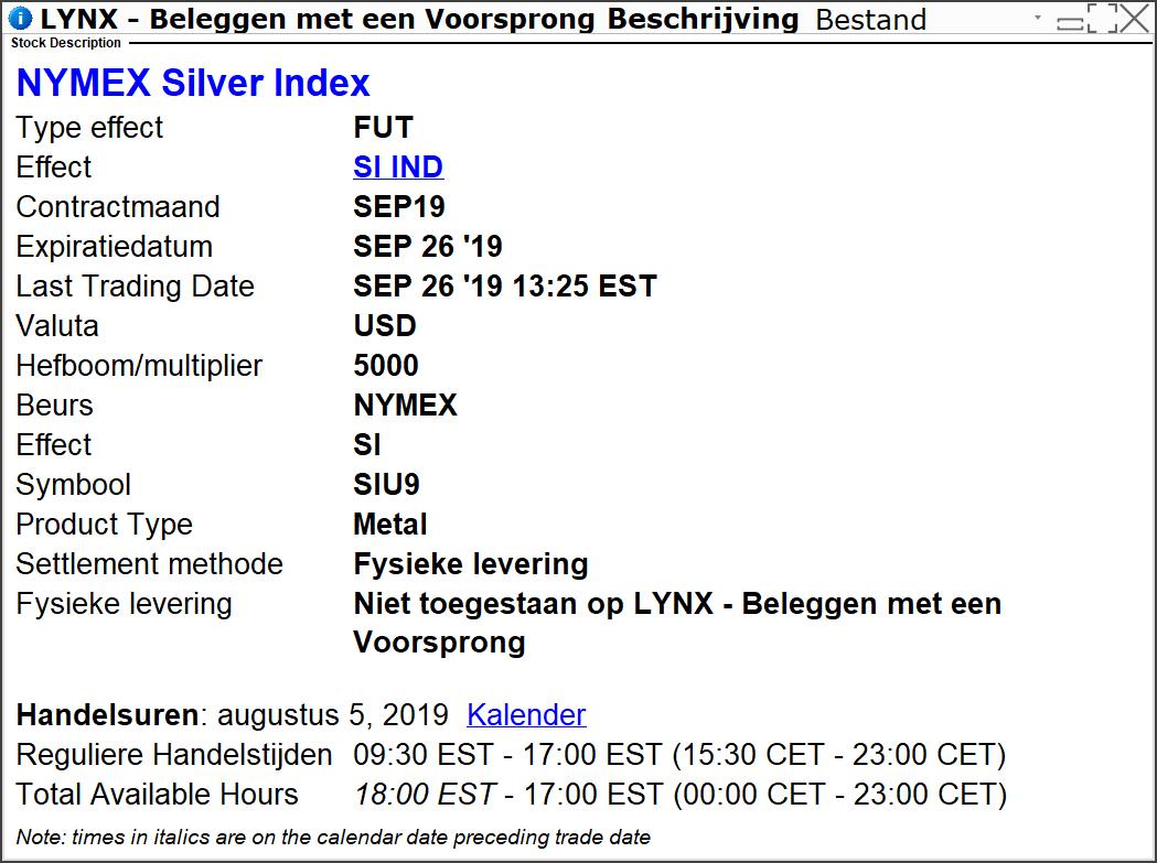 Zilveprijs verwachting 2019 - Zilverprijs in het LYNX Handelsplatform - Zilverprijs inkoop
