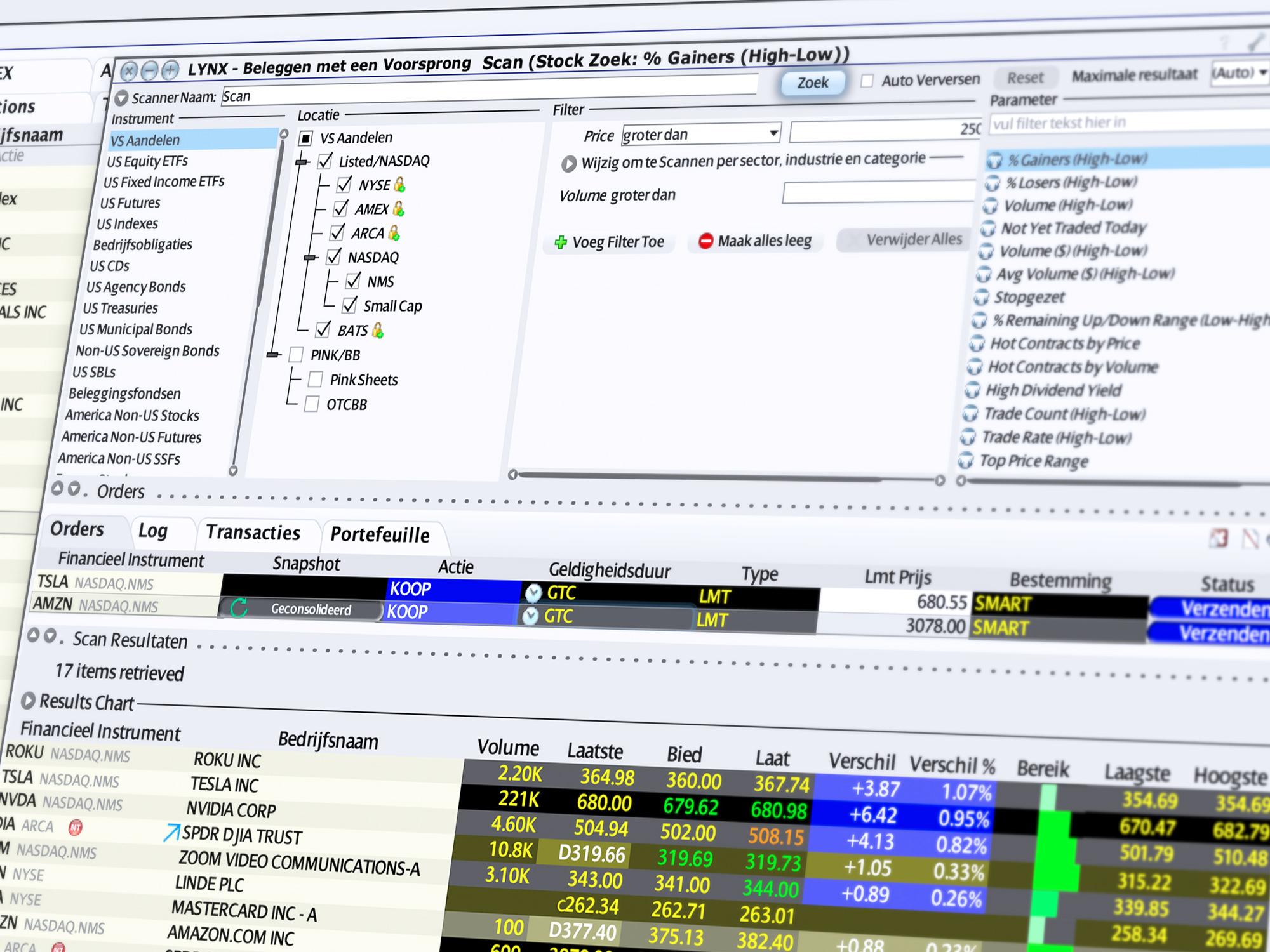 Markt Scanner - effecten handelen via de trading tool