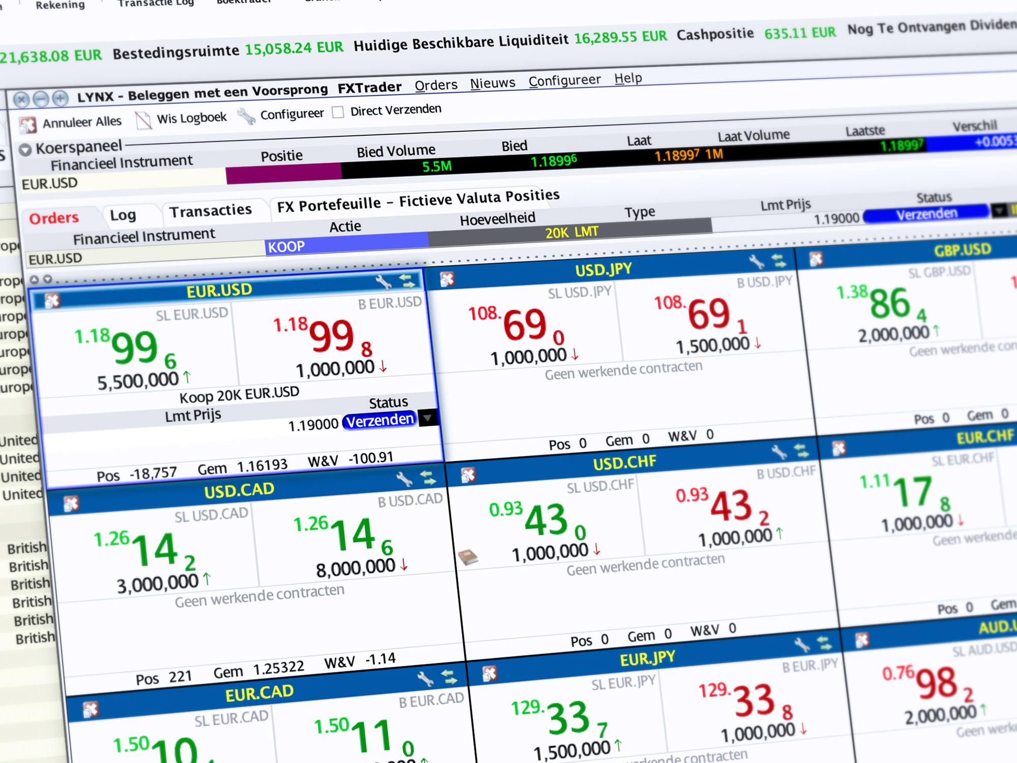 FX Trader - Forex orders inleggen