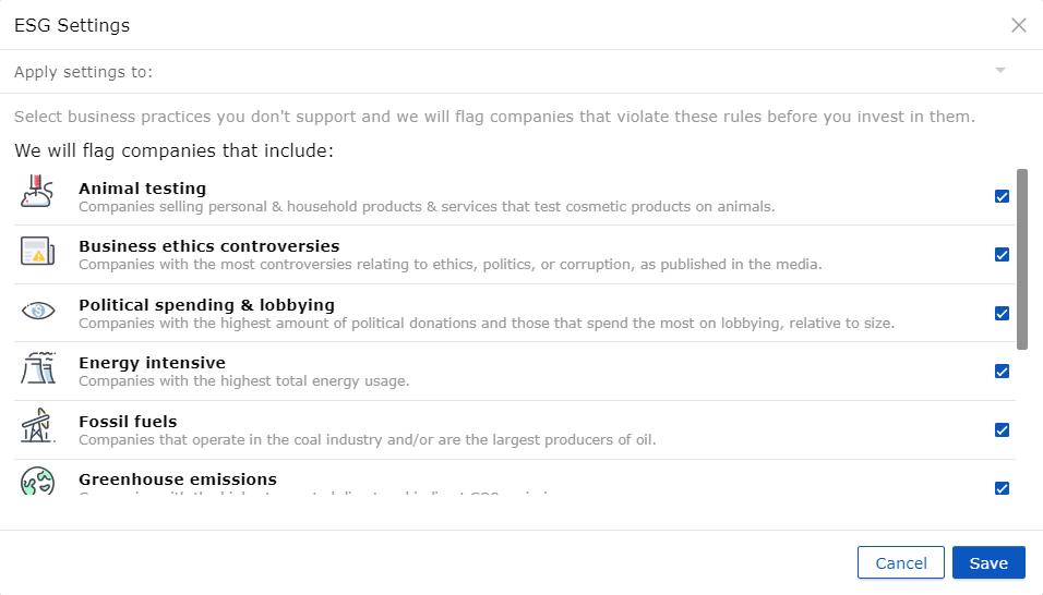 ESG beleggen settings