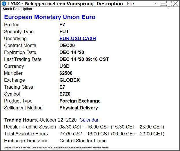 euro dollar e-mini future