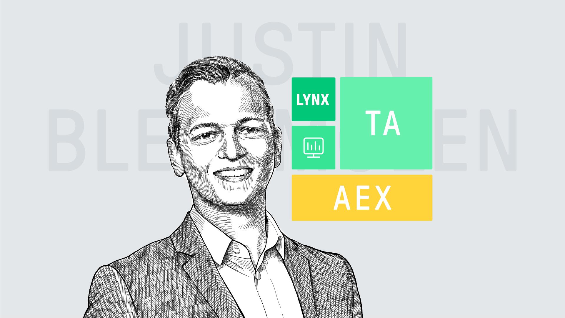 Elke maandag analyseert beleggingsexpert Justin Blekemolen de AEX index op basis van technische analyse